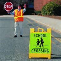 "School Crossing With Pedestrian Symbol - 36"" H x 25"" W x 0.25"" D Plastic Diamond-Grade Portable Warning A Board Sign"