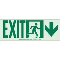 Exit with Down Arrow - Hi-Intensity Photoluminscent Signs (10Pk)