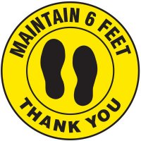 Floor Safety Signs - Maintain 6 Feet