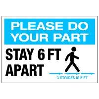 Stay 6 FT Apart 3 Strides Landscape Label