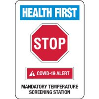 Health First - Mandatory Temperature Screening Station COVID-19 Signs