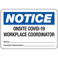 Onsite COVID-19 Workplace Coordinator Write-On Sign