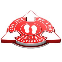 Stay Safe Social Distancing Outdoor 3D Floor Sign - Red