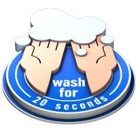 3D Floor Marker - Wash For 20 Seconds - Blue
