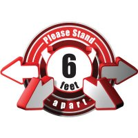 3D Wall Decal - Please Stand 6 Feet Apart - Red