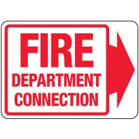 Fire Department Connection Sign: Fire Department Connection (With Right Arrow)