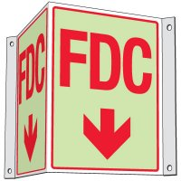 Glow In The Dark Fire Department Connection Projecting Sign: FDC (With Down Arrow)