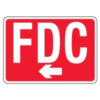 Reflective FDC Signs - Left Arrow, White on Red