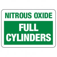 Cylinder Sign: Nitrous Oxide - Full Cylinders