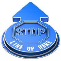 3D Floor Marker - Stop Line Up Here - Blue