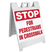Stop For Pedestrians In Crosswalk Barricade