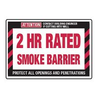 2 Hour Rated Smoke Barrier - Fire Wall Warning Signs