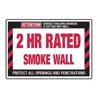 2 Hour Rated Smoke Wall - Fire Wall Warning Signs