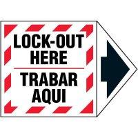 2-Part Arrow Labels - Lock-Out Here/Trabar Aqui