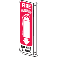 Slim-Line 2-Way Fire Extinguisher Sign - Do Not Block (With Graphic)