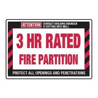 3 Hour Rated Fire Partition - Fire Wall Warning Signs