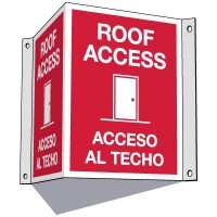 3-Way Bilingual Roof Access Sign
