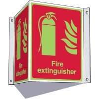 3-Way Fire Extinguisher w/Flame Sign