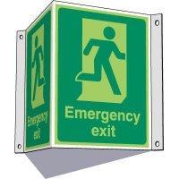 3-Way Running Man Emergency Exit Sign