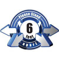 3D Wall Decal - Please Stand 6 Feet Apart - Blue