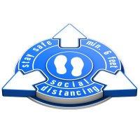 Stay Safe Social Distancing Outdoor 3D Floor Sign - Blue