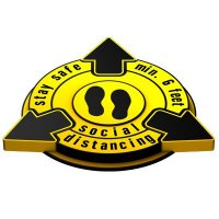 Stay Safe Social Distancing Outdoor 3D Floor Sign - Yellow