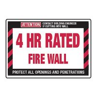 4 Hour Rated Fire Wall - Fire Wall Warning Signs