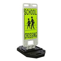 "School Crossing For Pedestrians - 40"" H x 14"" W Plastic Diamond-Grade Traffic Control Crosswalk Sign"