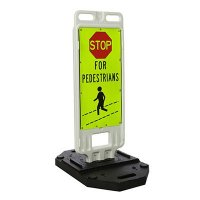 "STOP For Pedestrians - 40"" H x 14"" W Plastic Diamond-Grade Traffic Control Crosswalk Sign"