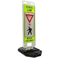 "YIELD To Pedestrian Within Crosswalk - State Law - 51"" H x 14"" W Plastic Diamond-Grade Traffic Control Crosswalk Sign"