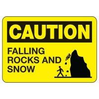OSHA Caution Sign: Falling Rocks And Snow