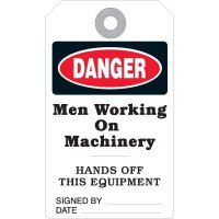 Danger Men Working On Machinery Accident Prevention Tag