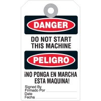 Bilingual Danger Do Not Start Accident Prevention Tag