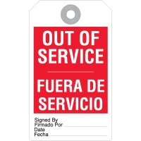 Bilingual Out Of Service Accident Prevention Tag