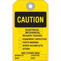Caution Electrical Mechanical Reason Accident Prevention Tag