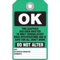 Scaffold OK Accident Prevention Tag