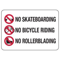No Skateboarding, Bicycle Riding, Rollerblading Sign