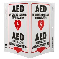 AED Bilingual V-Style Sign
