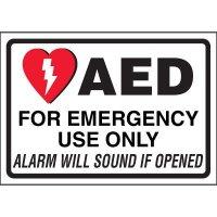 AED Alarm Will Sound Cabinet Label
