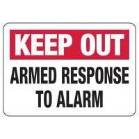 Security Alarm Signs - Armed Response To Alarm