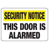 Security Alarm Signs - This Door Is Alarmed