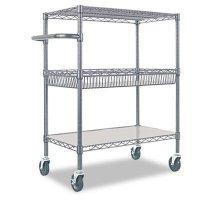 Alera® Wire Shelving Three-Tier Rolling Cart  ALESW543018BA