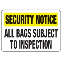 All Bags Subject To Inspection - Metal Detector Inspection Signs