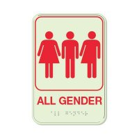 All Gender - Glo Brite Braille Signs