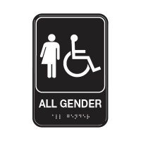All Gender W/ Accessibility Symbol - Graphic ADA Braille Tactile Signs