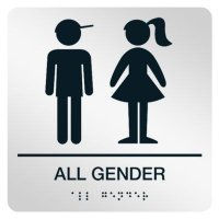 All Gender w/ Boy & Girl Graphic - Graphic Braille Signs