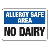 Allergy Safe Area No Dairy - School Allergy Signs