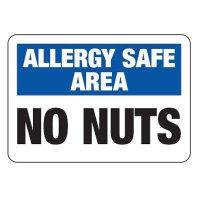 Allergy Safe Area No Nuts - School Allergy Signs