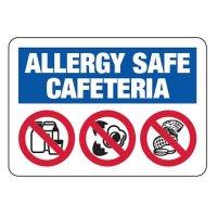 Allergy Safe Cafeteria No Nuts, Dairy, Eggs - School Signs