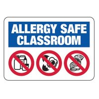Allergy Safe Classroom No Nuts, Dairy, Eggs - School Signs